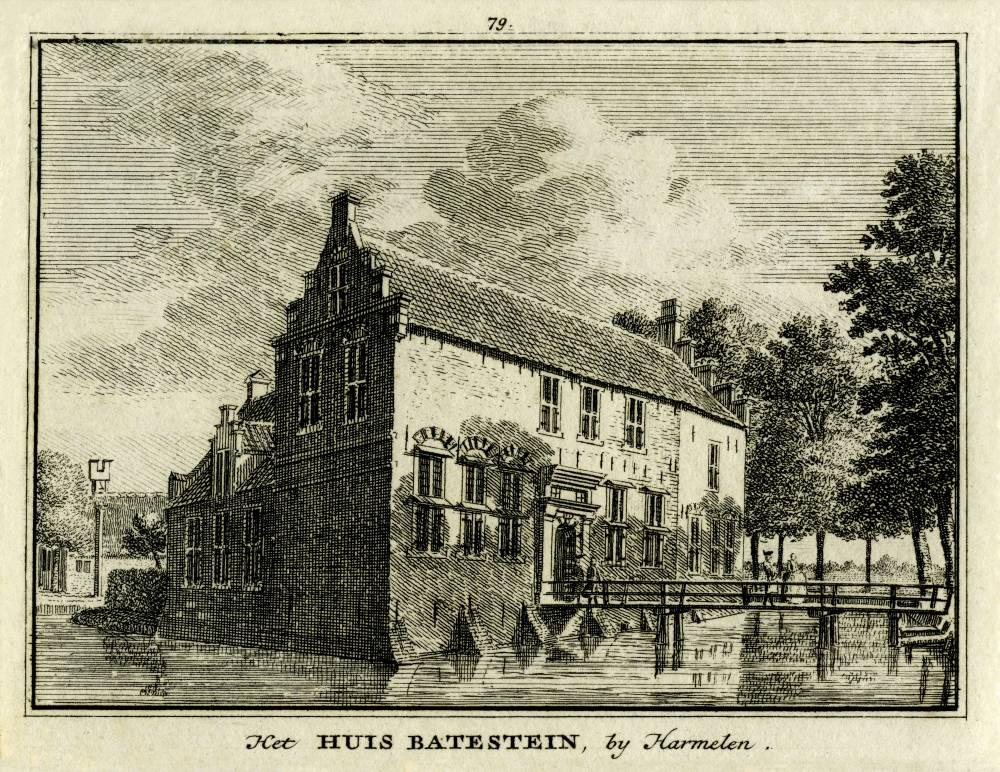 Kasteel Batestein in Harmelen. Tekening Jan de Beijer, gravure Hendrik Spilman (Uit: Het Verheerlykt Nederland, Isaac Tirion, 1745/1774)
